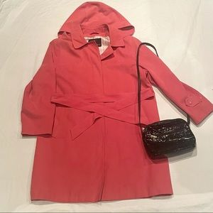 London fog pink button up trench coat